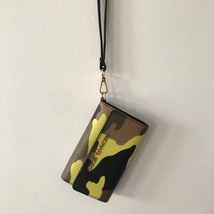 Michael Kors Neon Camo Leather Wristlet